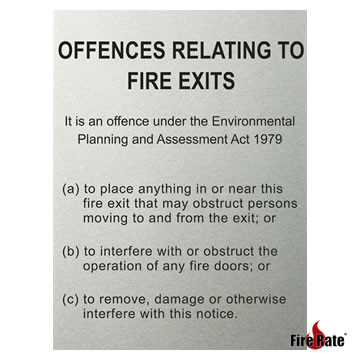 Brushed Metal Offences Relating To Fire Exits Fire Rate